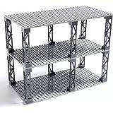 INIBUD 基礎板 ブロック プレート クラシック 互換性 16×32ポッチ 両面 柱付き 板3枚 柱12本 セット (ライトグレー)