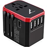 Universal Travel Adaptor 5.6A(MAX) - High Speed 2.4A - 4 USB and 1 Type-C for AU US EU UK - International Power Adapter - Wor