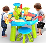 TEMI 3-in-1 Sand Water Table, 28PCS Kids Beach Summer Toys Sandbox Table Outdoor Activity Sensory Play Table with Dolphin Wat