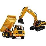 Top Race Diecast Metal Construction Trucks, Heavy Metal Excavator and Dump Truck, Free Wheeler Die Cast Construction Toys, Se