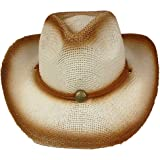 SILVERFEVER Silver Fever Fashionable Ombre Woven Straw Cowboy Hat
