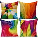 Wilproo 18 x 18 inches Rainbow Colorful Cushion Covers Abstract Crayon Throw Pillow Case Cover Set of 4 (Colorful) for Sofa C