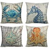 All Smiles Marine Animals Decorative Outdoor Throw Pillow Covers Cushion Cases Ocean Theme Home Decor 18X18 Set of 4 for Sofa