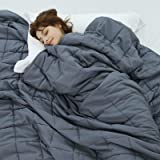 Weighted Idea Cooling Weighted Blanket 15 lbs Adults | 48''x78'' | Twin Size | Cotton | Grey
