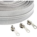 B.Y Elements #5 Sliver Metallic Nylon Coil Zippers by The Yard Bulk 10 Yards with 25pcs Sliders for DIY Sewing Tailor Craft B