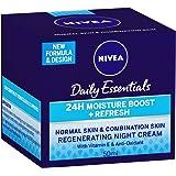 NIVEA Daily Essentials 24 Hour Moisture Boost + Refreshing, Regenerating, Moisturisinng Night Face Cream with Vitamin E & Ant