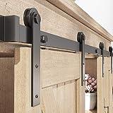 ZEKOO 2.5-8FT Customized Style Interior Super Mini Sliding Barn Door Hardware Black Roller Rails Closet Cupboard Storage Cabi