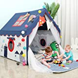 YOIKO Kids Tents Indoor Playhouses Boys 9.9Ft Star String Lights Blue Tent for Boys Upgraded Large Kids Indoor Tents and Play