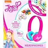 JoJo-Siwa Headphones for Kids with Built in Volume Limiting Feature for Kid Friendly Safe Listening, Clip Your Own Bow, Pink