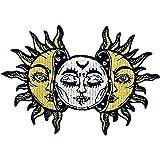 太陽と月刺繍のバッジのアイロン付けまたは縫い付けるワッペン