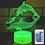 HLLKYYLF Kids Dolphin Gifts Dolphin Decoration Dolphin Nightlight 16 Color Changing Kids Lamp with Touch and Remote Control D