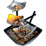 Silver Springs Relaxation Fountain | Illuminated Waterfall, Natural Stones, Soothing Sounds, Tabletop Zen Fountain | Indoor o