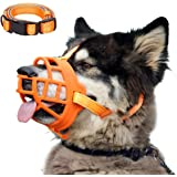 Dog Muzzle, Soft Silicone Basket Muzzle for Dogs, Allows Panting and Drinking, Prevents Unwanted Barking Biting and Chewing,