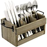 MyGift Farmhouse Vintage Brown Reclaimed Style Wood and Chicken Wire Dining Utensil Server Flatware Caddy and Napkin Holder