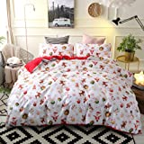 Decdeal Luxury Christmas Bedding Set, Comforter Duvet Cover Set and Bed Sheet with 2 Pillowcases
