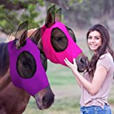 2 Pieces Horse Fly Mask Horse Mask with Ears Smooth and Elasticity Fly Mask with UV Protection (Purple, Pink)