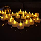 TEECOO 50pcs Flameless Tea Lights Candles, Flickering LED Tea Light Candles, Long Lasting Battery Operated Candles-Decoration