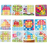 Dolity Button Art Color Matching Mosaic Pegboard Set Early Learning Educational Toys Kids Thanksgiving Christmas Birthday Par