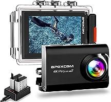 【进化版】Apexcam pro EIS 运动相机 4K高画质 2000万像素 40M防水 水中照相机 手动纠正 170度广角镜头 搭载WiFi 外部高清 高品质1200mAh电池2个[厂家1年保修] 2英寸液晶画面...