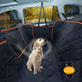 Dog Car Seat Cover, Waterproof Pet Seat Cover Protector with Mesh Visual Window & Seat Belt Opening & Storage Pockets, Wear-P