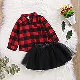 Toddler Kid Baby Girls Christmas Dress Plaid Long Sleeve Shirts Top Dress Tutu Skirts Christmas Outfits 6M-4Y