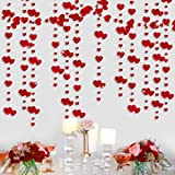 52Ft Valentine's Day Red Heart Garland Kit Double Sided Metallic Paper Hanging Banner Streamer for Engagement Anniversary Bri