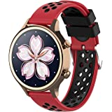 XIHAMA For Nokia Withings スチール hr Watch Band 18MM 交換ベルト 防水 運動型 シリコーンゴム 腕時計 ストラップ 替えバンド (赤/黒)