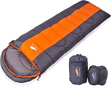 CuteeFox 寝袋 封筒型 軽量 シュラフ 防水 コンパクト【 選べる6色】1kg 1.8kg 2.2kg アウトドア 登山 車中泊 丸洗い 収納袋付き オールシーズン