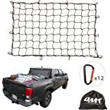 3'x4' to 6'x8' Heavy Duty Latex Cargo Net with 12 Tangle-free D Clip Carabiners + 12 Nylon Hooks Small 4x4 Mesh 5mm Cord for