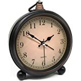 Vintage Retro Analog Alarm Clock, 4 inch Super Silent Non Ticking Small Clock with Night Light, Battery Operated, Simply Desi