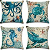 "7COLORROOM Home Decorative Pillow Covers, Cotton Linen, Sea Turtle, 18"""