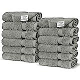 Luxury Hotel & Spa Towel 100% Genuine Turkish Cotton (Wash Cloth - Set of 12, Gray)