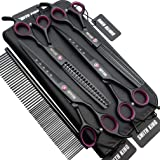 7.0 inches Professional Dog Grooming Scissors Set Straight & thinning & Curved & chunkers 4pcs in 1 Set (with Comb)