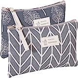 Kimoli 2 Pcs Womens and Girls Funny Canvas Makeup Bag Roomy Cosmetic Bag Pouch Purse Handbag with Zipper