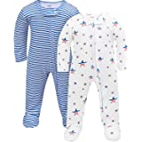 TILLYOU Baby Boy and Girl Loose Fit Pajamas, 2-Pack Cotton Footed Sleep & Play Footies
