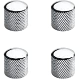 Musiclily Metric Heavy Metal Knurled Dome Control Knobs for Electric Guitar or Bass, Chrome(4 Pieces)