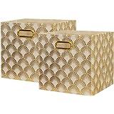BAIST Cube Storage Bins,Foldable Square Gold Fabric Decorative Cubby Storage Cubes Bins Baskets for Nursery Bedroom Shelf Fir