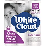White Cloud Strong & Soft 2 Ply Toilet Paper, 48 Mega Rolls (Pack of 4 with 12 Rolls Each), 308 Sheets (Pack of 12)