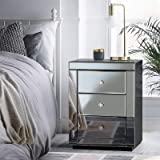 Artiss Mirrored Bedside Table, 3-Drawer Sofa Side Table 58cm Height, Smoky Grey