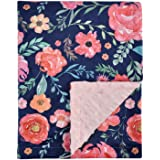 Baby Blanket for Girls Super Soft Double Layer Minky with Dotted Backing, Elegant Receiving Blanket with Pink Floral Multicol