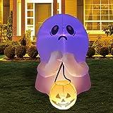 GOOSH 4Foot High Halloween Inflatable Ghost Holding Pumpkin Blow Up Inflatables for Halloween Party Indoor,Outdoor,Tree,Yard,