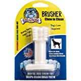 Bullibone Brusher: Dog Teeth Cleaning Brushing Toothbrush Stick - Long Lasting Nylon Peppermint Chew Toy for Dog Oral Care an