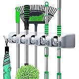 LETMY Broom Holder Wall Mounted - Mop and Broom Hanger Holder - Garage Storage Rack&Garden Tool Organizer - 5 Position 6 Hook