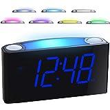 "Mesqool 7"" Digital Alarm Clock, 7 Colored Night Light, Large LED Digits Full Dimmer, USB Chargers, 12/24 Hour, Loud Alarm, Ou"