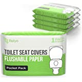Toilet Seat Covers Paper Flushable (50 Pack) - XL Flushable Paper Toilet Seat Covers for Adults and Kids Potty Training, 100%