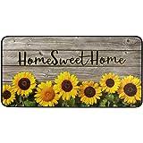 Kitchen Rug Mat Non-Slip Doormat Home Sweet Home Sunflowers On Wooden Home Decor Floor Rug Standing Mat, Washable Hypoallerge