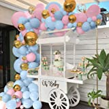 Blue and Pink Balloons, 90pcs Gold Confetti & Gold Metallic Foil Balloons Garland Kit Macaron Latex Balloon for Birthday Baby