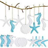 30 Pieces Resin Starfish Assorted Resin Pencil Finger Starfish Seahorse Seashells Ocean Themed Hanging Ornaments with Drilled