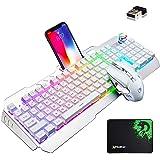 Cross Zebraゲーミングキーボードマウスセット、無線キーボード、英語配列 16RGB LEDバックライト充電式5000mAh大容量、メタルパネル、充電可能、防水キーボード、RGB効果またマルチメディアを制御するノブ付き、2.4GHZワイヤレス
