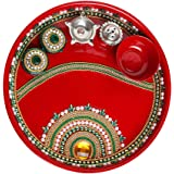 Handcrafted Red Pooja Thali, Decorative Stainless Steel Puja Thali with Essential Pooja Articles, for Aarti Pooja Rituals Fes